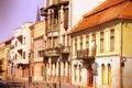 Romania cluj napoca town in transylvania region of second biggest romanian city eroilor avenue architecture cross processing color Royalty Free Stock Photos