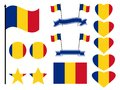 Romania flag set. Collection of symbols heart and circle. Vector Royalty Free Stock Photo