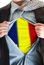 Romania flag on shirt Stock Images