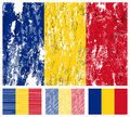Romania grunge flag set Stock Photo