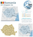 Romania maps with markers set of the political and symbols for infographic Stock Images