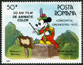 Romania shows mickey mouse walt disney characters in the band concert devoted fifty years of color animated films circa a stamp Royalty Free Stock Images