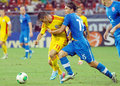 Romania slovakia international friendly game s gabriel torje and s tomas kona pictured in action during the match between and Stock Image