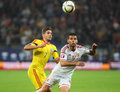 Romania vs hungary s nemanja nikolic r vies for the ball with s alexandru chipciu l during the uefa euro qualifyer match between Stock Photo