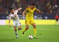 Romania vs hungary s zoltan stieber l vies for the ball with s ovidiu hoban r during the uefa euro qualifyer match between Royalty Free Stock Photo
