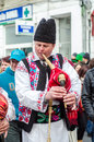 Romanian bag pipes player at Saint Patrick Parade Royalty Free Stock Photo