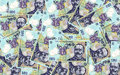 Romanian banknotes background with a lot of money Stock Photos