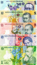 Romanian banknotes closeup of different lei Stock Photo