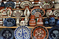 Romanian ceramic a photograph of traditional plates and vases in village museum Stock Image