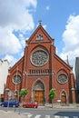 The romanian church brussels belgium june brick facade of orthodox of saint nicolas of myra located in schaarbeek neighborhood Royalty Free Stock Photography