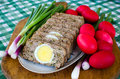 Romanian easter food drob is a traditional dish made of minced lamb s offals and meat and cooked in the oven Royalty Free Stock Photos