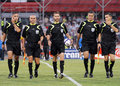 Romanian fifa referees best were delegated at the league relegation play off between rapid bucharest and concordia Stock Photos