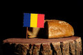 Romanian flag on a stump with bread Royalty Free Stock Photo