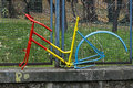 Romanian flag in view of a cyclist bike frame painted colors and exposed by bicyclist fan Royalty Free Stock Image