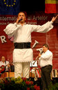 Romanian folk singer at a festival Royalty Free Stock Photography