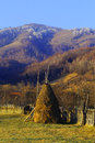 Romanian haystacks during early winter romania holds stunning village landscapes this particular one shows and scarce houses on a Royalty Free Stock Images