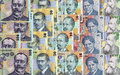 Romanian money background with in descending order Stock Image