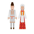 Romanian national costume illustration of dress on white background Stock Photos