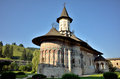 Romanian orthodox monasteru sucevita monastery in romania country in bucovina land exterior walls are painted with biblical scene Stock Images