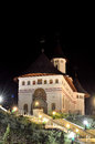Romanian orthodox monastery by night stone the name of the is pangarati Stock Image
