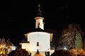 Romanian orthodox monastery stone by night the name of the is varatec and is in unesco world heritage circuit Royalty Free Stock Photography