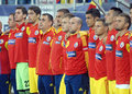 Romanian substitute players in romania turkey world cup qualifier game pictured before between and held on national arena from Stock Photos