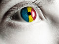 Romanian supporter flag on the eye Royalty Free Stock Photo