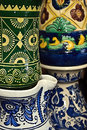 Romanian traditional ceramics pottery in the village corund transylvania Royalty Free Stock Photos