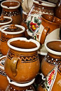Romanian traditional ceramics pottery in the village corund transylvania Stock Photography