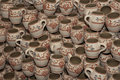 Romanian traditional clay cups Royalty Free Stock Photography
