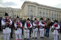Romanian traditional music artists performing near romanian athenaeum saint patrick s day bucharest march Stock Images