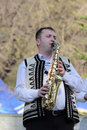 Romanian traditional musician a at a fair in bucharest Royalty Free Stock Photo