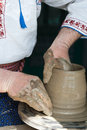 Romanian traditional pottery making Stock Photo