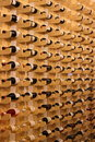 Romanian wine on wooden shelves in a store Royalty Free Stock Images