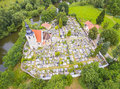 Romanic church st george aerial view to with graveyard in pilsen rare landmark from th century czech republic central europe Royalty Free Stock Images