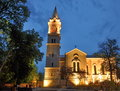 Romano catholic church the by night in sighisoara the medieval city transylvania romania Royalty Free Stock Photography