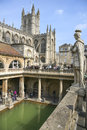 Romans baths and abbey historic bath city somerset england april tourists at the roman museum on april in the are a major tourist Royalty Free Stock Photo