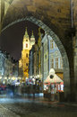 Romantic alley at night in prague czech republic beautiful baroque buildings Royalty Free Stock Photography