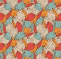 Romantic autumn floral seamless pattern. Beautiful endless linear background with leaves. Vintage leaves texture. Royalty Free Stock Photo