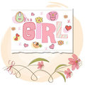 Romantic baby girl shower card Royalty Free Stock Photo