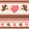 Romantic background vector illustration striped with hearts and cupids Royalty Free Stock Images