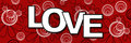 Romantic banner image love text red black white background Royalty Free Stock Photos