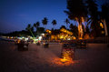 Romantic beach at night in Goa Royalty Free Stock Photo