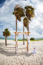 Romantic beach wedding arch Stock Image