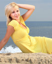 Romantic Beautiful smiling girl yellow dress Royalty Free Stock Photos