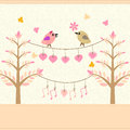 Romantic  birds Stock Images
