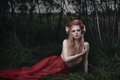 Romantic blond woman art fashion portrait of young girl with flowers in hair in forest Stock Images