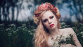 Romantic blond woman art fashion portrait of young girl with flowers in hair on meadow Royalty Free Stock Photos