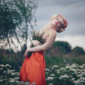Romantic blond woman art fashion portrait of young girl with flowers in hair on meadow Stock Images