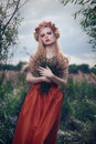 Romantic blond woman art fashion portrait of young girl with flowers in hair on meadow Royalty Free Stock Image